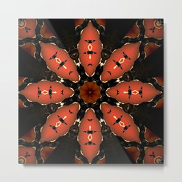 Orange Black Flower Mandala Design Metal Print