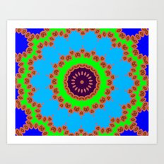 Lovely Healing Mandalas in Brilliant Colors: Royal Blue, Green, Light Blue, Orange, Maroon and Pink Art Print