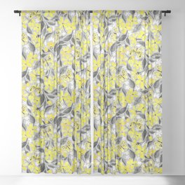 Buttercup Yellow and Silver Grey Watercolor Floral with Butterflies Sheer Curtain