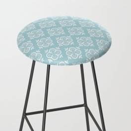 Decorative Pattern in White and Blue Bar Stool