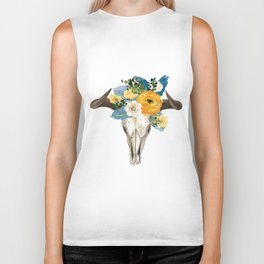 Bohemian bull skull and antlers with flowers Biker Tank