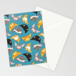 """""""Oro?"""" Cats-Teal Stationery Cards"""