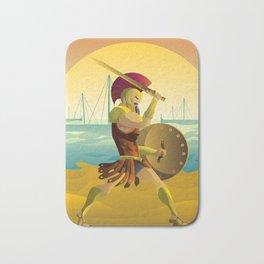 trojan warrior in beach near trireme greek ships Bath Mat