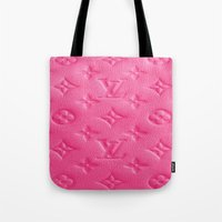 lv Tote Bags featuring Pink LV by Luxe Glam Decor