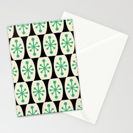 Mid Century Modern Atomic Fusion Pattern 311 Green and Black Stationery Cards