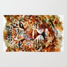 Leopard Head watercolor Rug