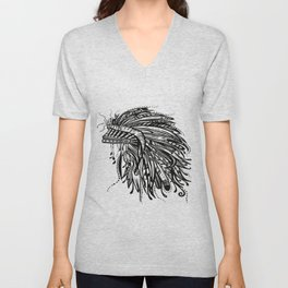 Native American Indian Headdress Warbonnet Black and White Unisex V-Neck
