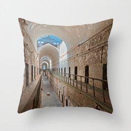 Abandoned Prison Corridor Throw Pillow