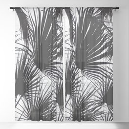 Black and White Tropical Leaves Sheer Curtain