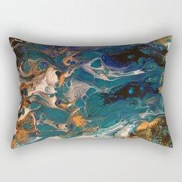 Teal & Gold Pour Rectangular Pillow