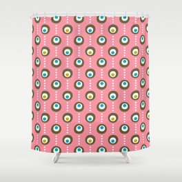 Pink Flamingo Dots Shower Curtain