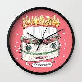 Why is it so damn HOT in here?!!! pink Wall Clock
