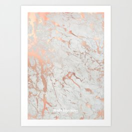 Rose gold marble Art Print