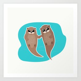 Cute Otters - Cuddle Party Art Print