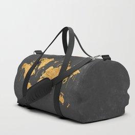 Gold World Map Duffle Bag