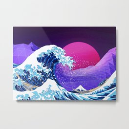 Synthwave Space: The Great Wave off Kanagawa #2 Metal Print