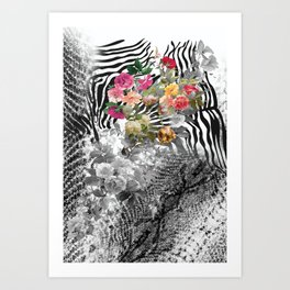 Flowers with Black and White Art Print