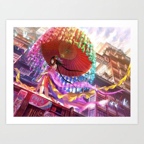 Niji Karakasa (Rainbow Umbrella) Art Print