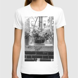 Vintage Black and White Photo of Backyard Herbs T-shirt