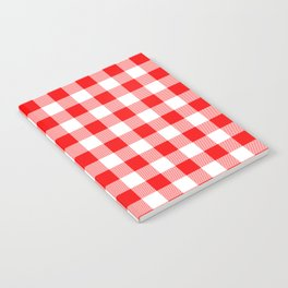Jumbo Valentine Red Heart Rich Red and White Buffalo Check Plaid Notebook
