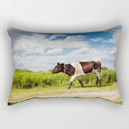 Calf walking in natural landscape Rectangular Pillow