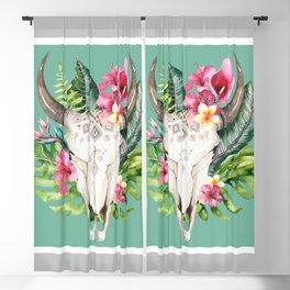 Boho Floral Skull Grey & Teal Blackout Curtain