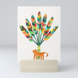 Whimsical travelers palm with tiger Mini Art Print