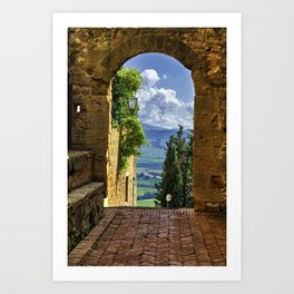 Arch with the View of the Tuscan Countryside, Pienza, Tuscany, Italy Art Print