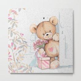 Cute Valentine's Bear Metal Print