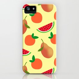 Cute sweet golden pears, little oranges and ripe summer tropical watermelons fantasy fruity whimsical light pastel sunny yellow design iPhone Case