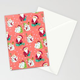Pink Winter Forest with Cute Snowmen and Santas Stationery Cards