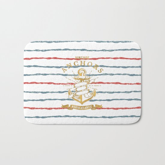 Maritime Design- Nautic Vintage Anchor on stripes in blue and red #Society6 Bath Mat