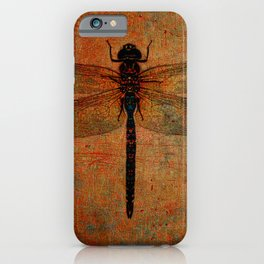 Dragonfly On Orange and Green Background iPhone Case