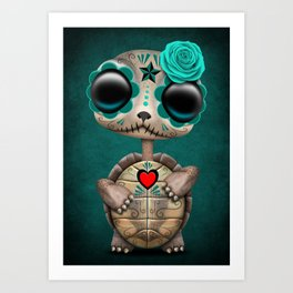 Blue Day of the Dead Sugar Skull Baby Turtle Art Print