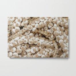 Garlic herbs, market in Côte d'Azur | Colorful travel food photography | Art Print Metal Print