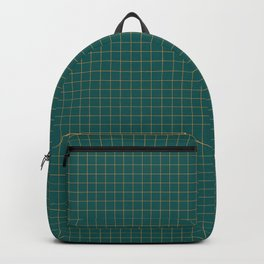 Green and Orange Checkered Pattern Backpack