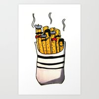 french fries Art Prints featuring French Fries by Bubblesquat