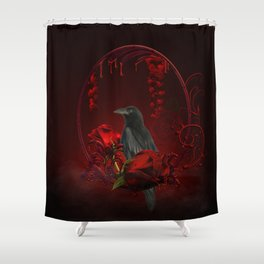 Wonderful crow with roses Shower Curtain