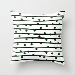 Modern black forest green polka dots stripes Throw Pillow