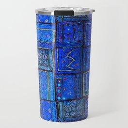 V2 Calm Blue Traditional Moroccan Cloth Texture. Travel Mug