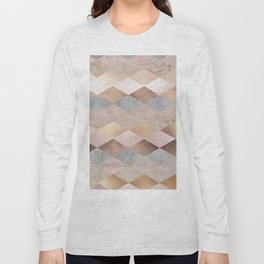 Copper and Blush Rose Gold Marble Argyle Long Sleeve T-shirt