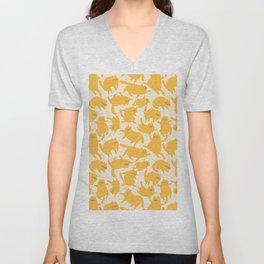 Yellow Cats Pattern Unisex V-Neck