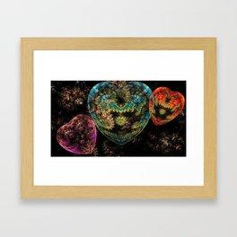 Ornate Steampunk Velvet Textured Hearts Framed Art Print