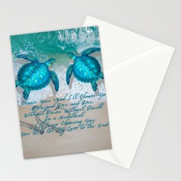 Sea Turtle Ocean Beach Couple's Love Quote Gift Stationery Cards