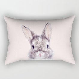 Baby Rabbit, Bunny With Pink Background, Baby Animals Art Print By Synplus Rectangular Pillow