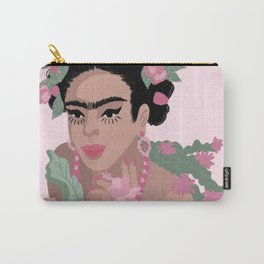 Frida Khalo & Pink Flowers Carry-All Pouch
