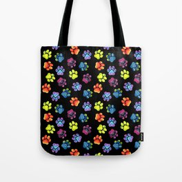 Black Rainbow Paw Print Pattern Tote Bag