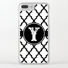 Black Monogram: Letter Y Clear iPhone Case
