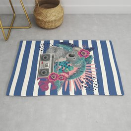 Grey koala with boombox and tropical leaves Rug