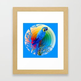 DECORATIVE CERULEAN BLUE MACAW  COLORFUL ART Framed Art Print